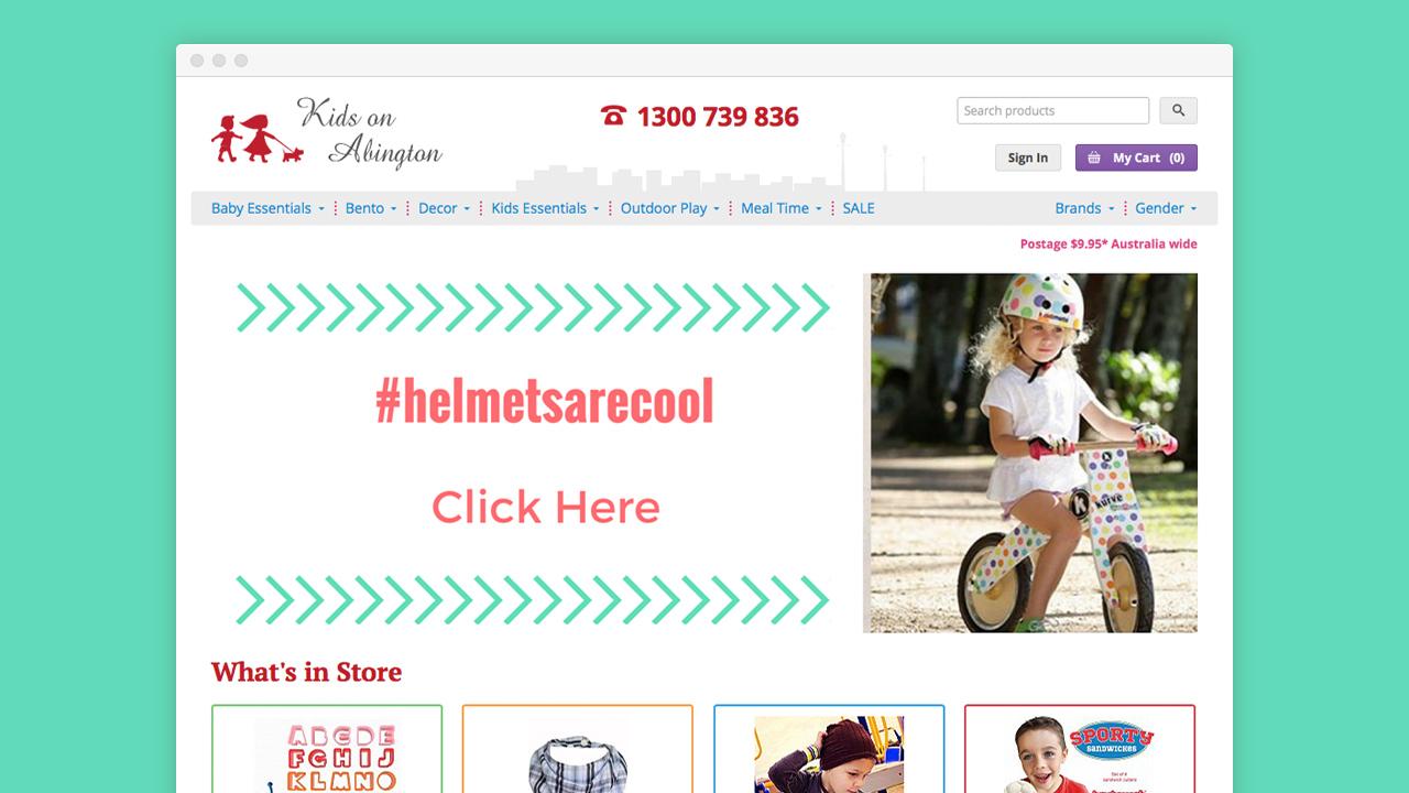 Warble Media - Kids on Abington eCommerce Website